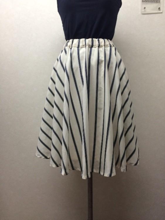 SUMMERストライプ*綿麻ボイルのふんわりフレアースカート|スカート・... SUMMERスト