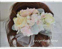 ヘッドドレス・コサージュ*ミルキー薔薇