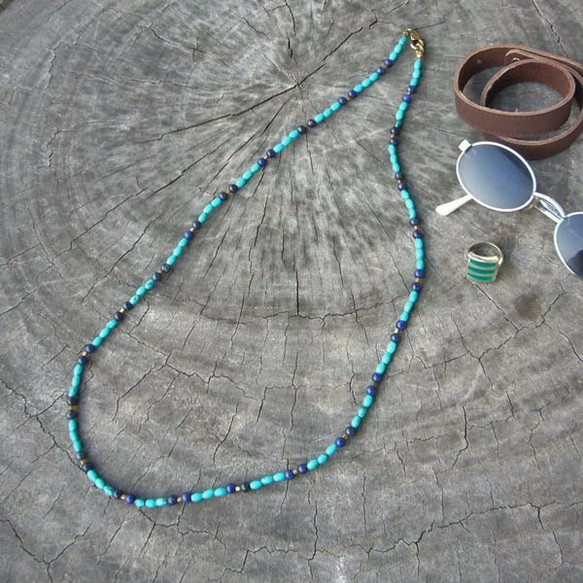 【オススメ】ターコイズ ネックレス お洒落 ラピスラズリ リゾートアクセサリーサイズ:67cm メンズ レディース
