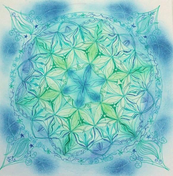 フラワーオブライフマンダラ海♪ | あとりえじょふぃえるの絵画