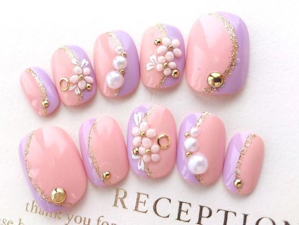 やさしい色♪ピンクとパールの和柄風ネイルチップ 振袖・お着物にも♪◆418