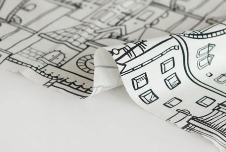 『切り絵のようなタッチで建物を描いた、『スカイパレス』布地』 オフホワイト ~50㎝単位でカット~