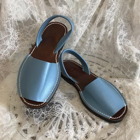 新作パステル水色★靴擦れしない疲れない本革オーダーメイドサンダル★☆甲高や幅広の方には特にオススメです☆